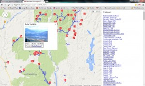 The trails maps page on Map Metrics