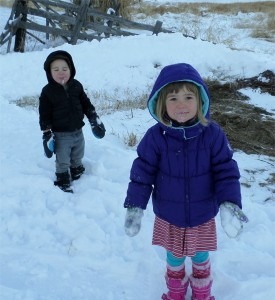 James Houston and Nala Brock after eating snow.