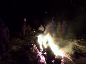 The New Year's bonfire was welcome at zero degrees.